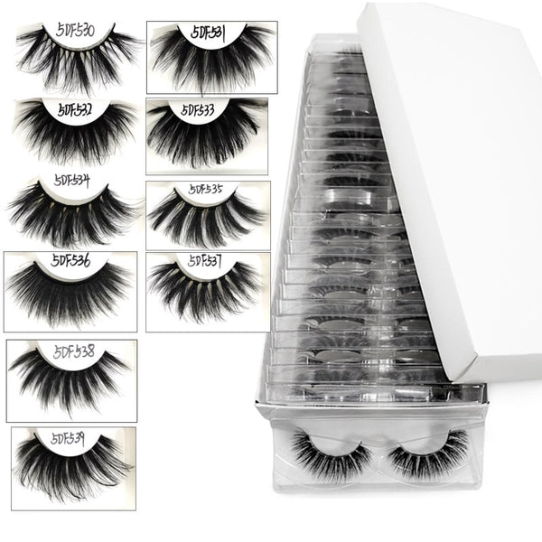 5D 25mm Mink Lashes Wholesale Handmade Full Strip False Eyelashes In Bulk Long Fluffy Eyelash Extension Tool 10/20/30 Pairs/Lot