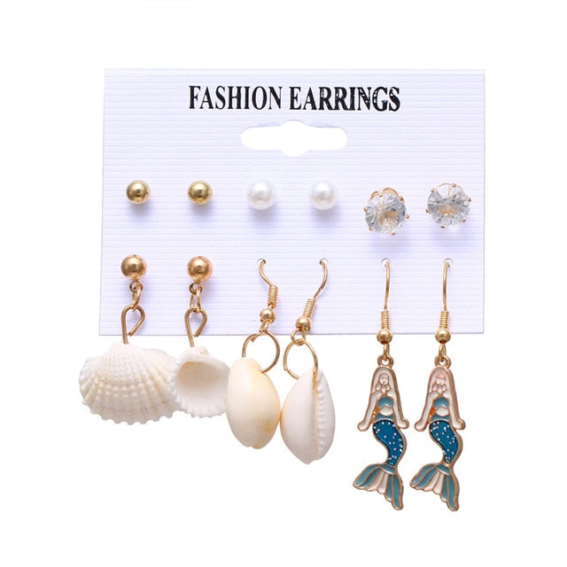 Bohemian Tassel Acrylic Earrings Set For Women Big Geometric Round Heart Pearl Rhinestones Earrings boucle doreille femme 2019