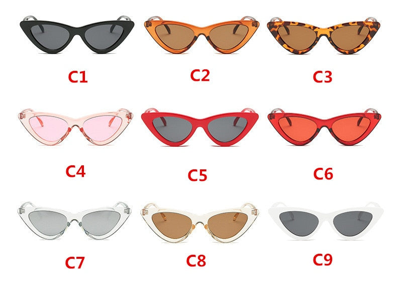 fashion sunglasses woman brand Designer vintage retro triangular cat eye glasses oculos De Sol Transparent ocean uv400