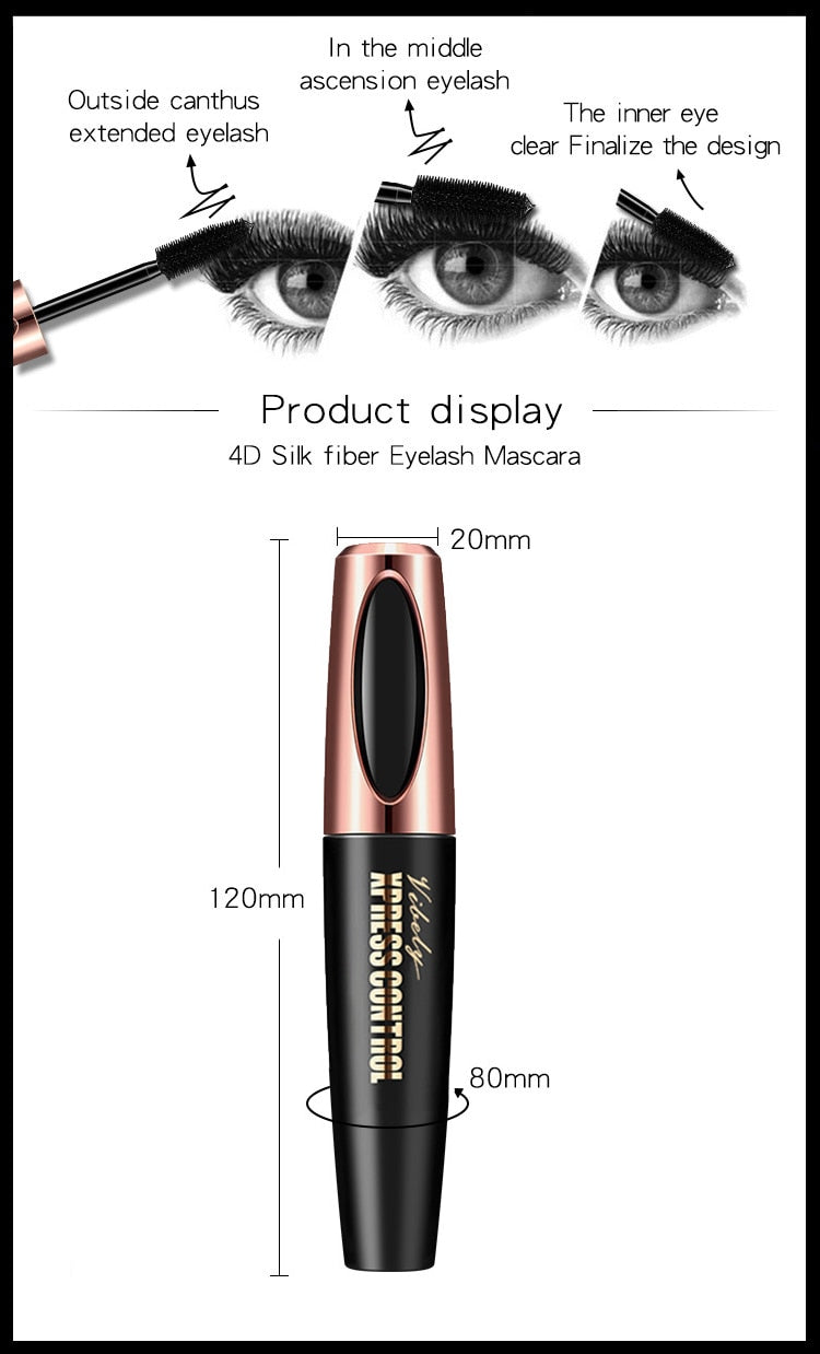 New 4D Silk Fiber Lash Mascara Waterproof VIBELY 3d Mascara For Eyelash Extension Black Thick Lengthening Eye Lashes Cosmetics