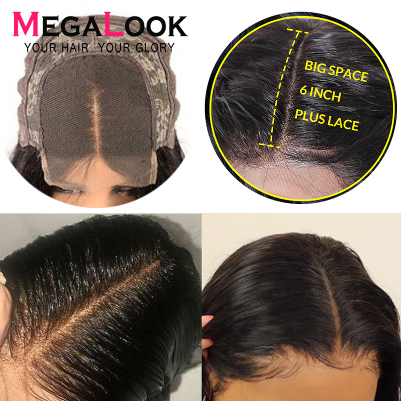 6x6 Closure Wigs Lace Closure Wig Remy 30inch Megalook Brazilian Human Hair Lace Front Wigs 4x4 Lace Closure Wig Body Wave Wig