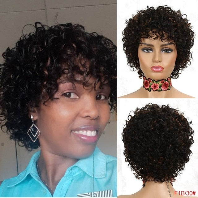Rebecca Short Curly Human Hair Wigs For Black Women Peruvian Remy Full Wigs With Bangs Bouncy Curl Blond Red Black Cosplay Wigs