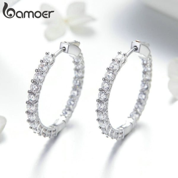 BAMOER Classic New Silver Color Round Circle Luminous Cubic Zirconia Stud Earrings for Women Hyperbole Earrings Jewelry YIE138