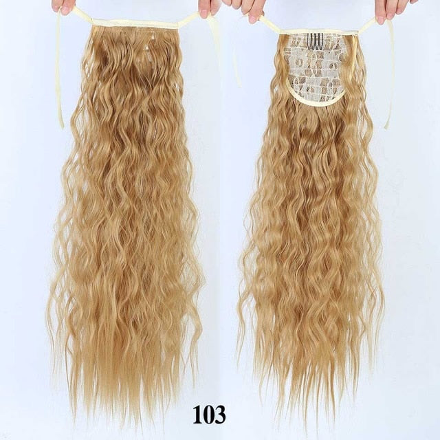 HOUYAN Long corn curly ponytail synthetic hair piece ribbon drawstring clipped to ponytail hair extension wig