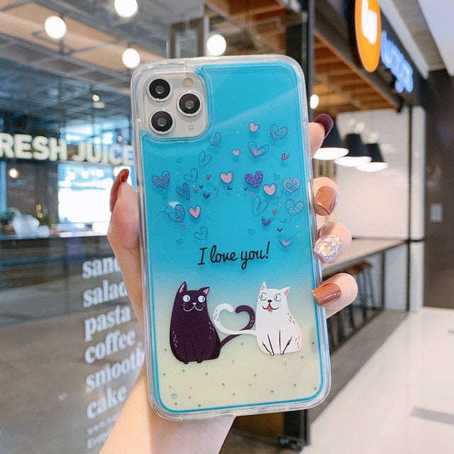 Luminous Neon Sand Cat love heart Case for iPhone XR XS max X 6 7 8plus 11 Glow In The Dark Liquid Glitter Quicksand Phone Case