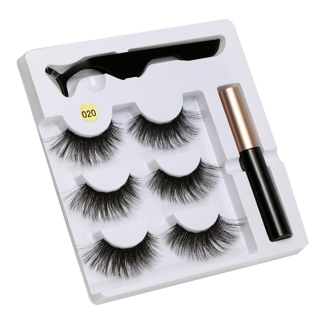 5 Magnet Eyelash Magnetic Liquid Eyeliner&Magnetic False Eyelashes&Tweezer Set Waterproof Long Lasting Eyelash Extension Tools