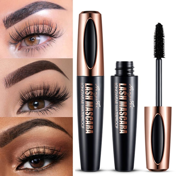 4d silk fiber mascara waterproof and easy to dry natural soft long eyelash makeup mascara black thick eyelash cosmetics