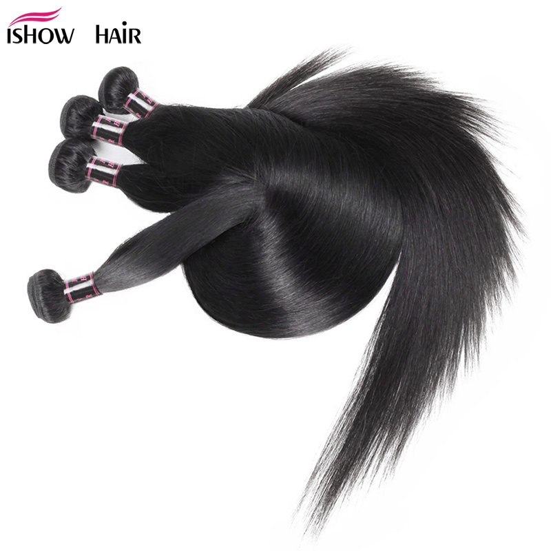 Ishow Brazilian Straight Hair Bundles Long Human Hair Bundles 30 32 24 36 38inch Brazilian Hair Weave Bundles Natural Color