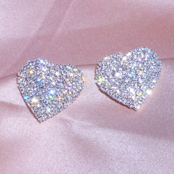New Design Luxury Crystal Heart Stud Earrings Fashion Big Love Earrings For Woman Romantic Wedding Jewelry Accessories
