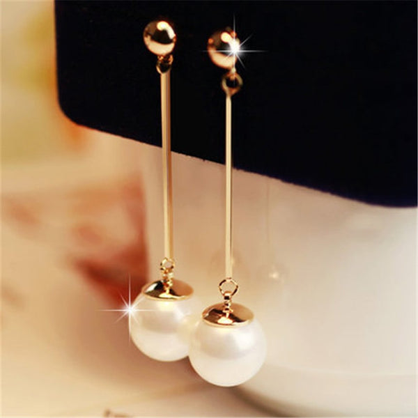 Long Tassel Simulated Pearl Drop Earrings for Women Gift Bijoux jewelry OL Gold Color Pendientes boucle d'oreille
