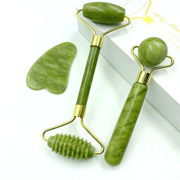 Natural Jade Massage Roller Guasha Board SPA Scraper Stone Facial Anti-wrinkle Treatment Body Facial Massager Health Care Tools