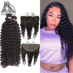 28 30 40 Inch Deep Wave Brazilian Hair Weave 3 4 Bundles With 13X4 Lace Frontal Water Wave Curly Double Drawn Bundle And Closure
