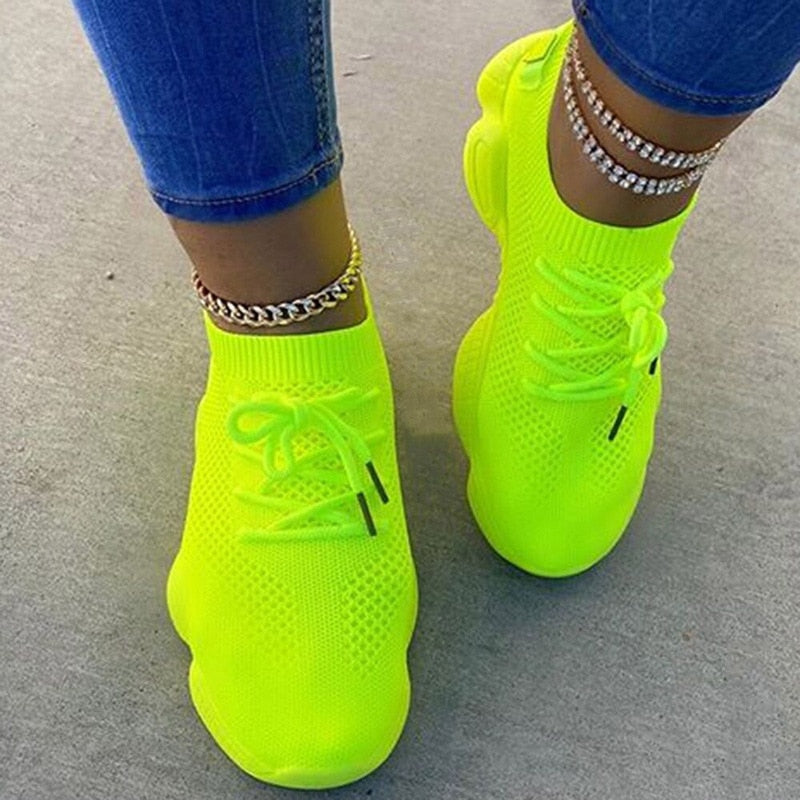 Air Mesh Women Sneaker Sock Shoes Summer Breathable Cross Tie Platform Round Toe Casual Fashion Sport Lace Up  Female Girl