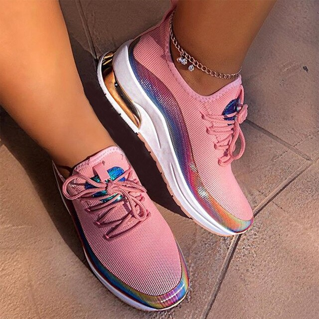 Flats Woman Fashion Sneakers 2020 Women's Shoes Ladies Casual Breathable Female Vulcanized Shoes Lace up Woman Comfort Walking