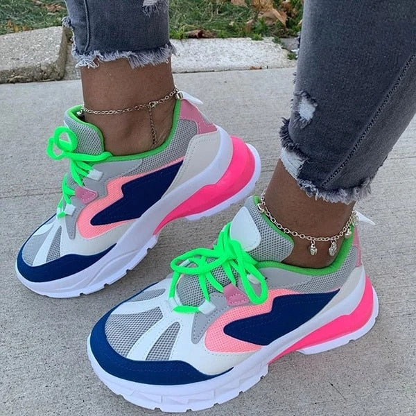 Mixed Colors Ladies Flat Platform Lace Up Shoes Women Casual Flats Spring Autumn Sneakers 2020 Big Size 43 Brand New