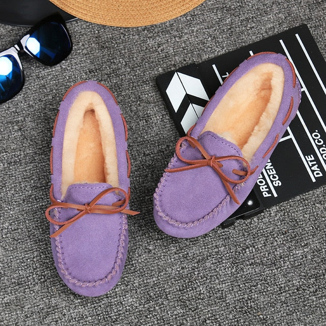 Shoes Women Winter Warm 100% Genuine Leather Flat Shoes Casual Loafers Slip on Women's Flats Plush Shoes Moccasins Lady