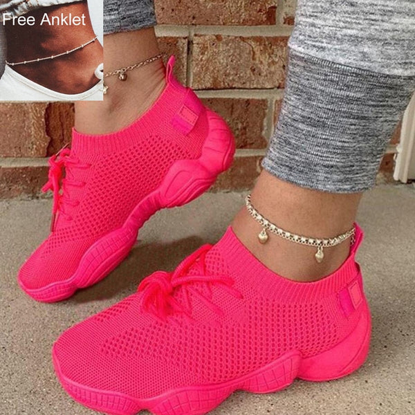 Air Mesh Women Sneaker Sock Shoes Breathable Cross Tie Platform Round Toe Casual Fashion Sport Lace Up Female Girl