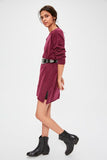 Women's Slit Purple Tricot Short Dress - Moda Secret