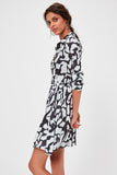 Women's Patterned Black Midi Dress - Moda Secret