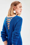 Women's Back Detail Saxe Tricot Dress - Moda Secret