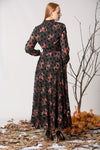 Women's Flock Print Patterned Black Chiffon Long Dress - Moda Secret