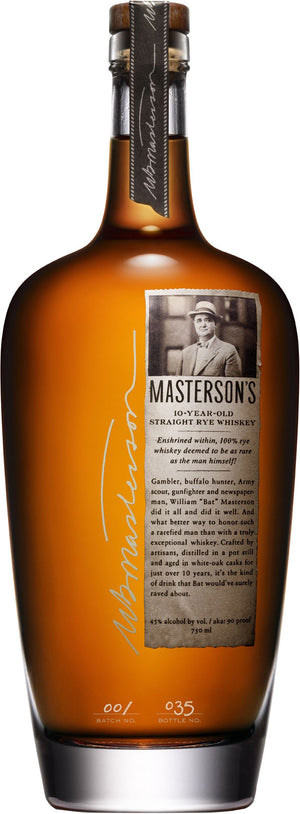 Load image into Gallery viewer, Masterson's 10 Year Old Straight Rye Whiskey