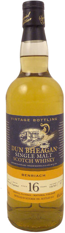 Dun Bheagan BenRiach 16 Year Old Single Malt Scotch Whiskey