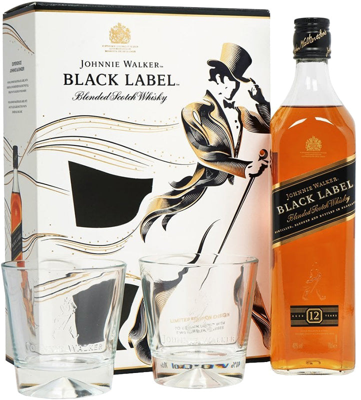 Load image into Gallery viewer, Johnnie Walker Black Label Blended Scotch Whisky Gift Set 750ml