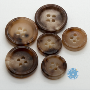(3 pieces set) 4hole Natural Toffee color Italy suit button