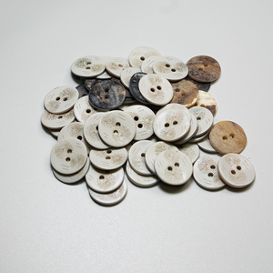 (3 pieces set) 15mm/2hole flower Pattern shell button