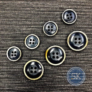 (3 pieces set) 4hole bone suit button vintage blue
