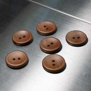 (3 pieces set) 2hole 25mm wooden button Chocolate Brown color