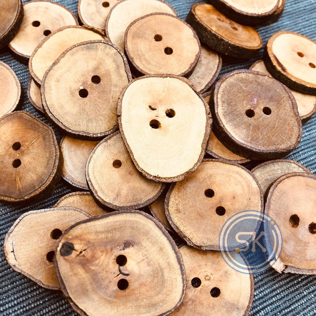 (2 pieces set) 2hole wooden slice button