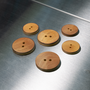 (3 pieces set) 2hole wooden button with Burnt