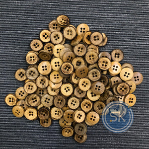 (4 pieces set) 4hole Bamboo Button with Burnt