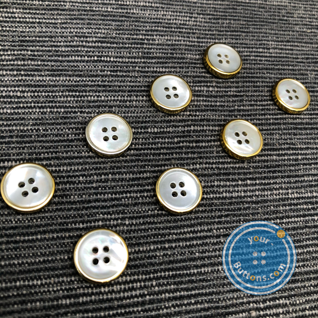 (4 pieces set) 4hole mother of peral button with gold rim