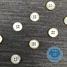Load image into Gallery viewer, (4 pieces set) 4hole mother of peral button with gold rim