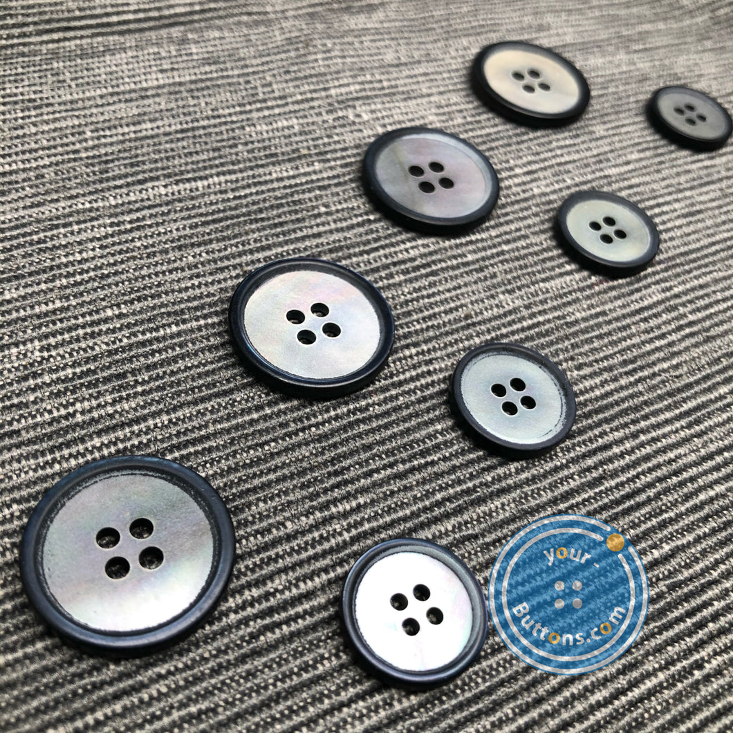 4 hole Mother of Pearl matt grey suit button