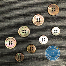 Load image into Gallery viewer, (3 pieces set) 4 hole Brownlip Mother of Pearl shell Button