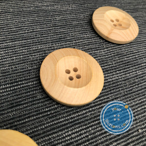 (3 pieces set) 4hole natural wooden button big rim