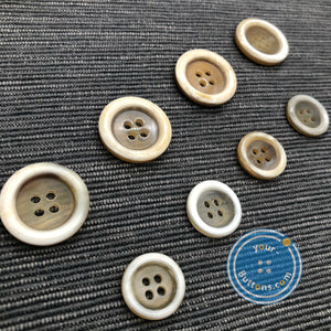 (3 pieces set) Unique 4hole beige horn suit button ( Selected beige )