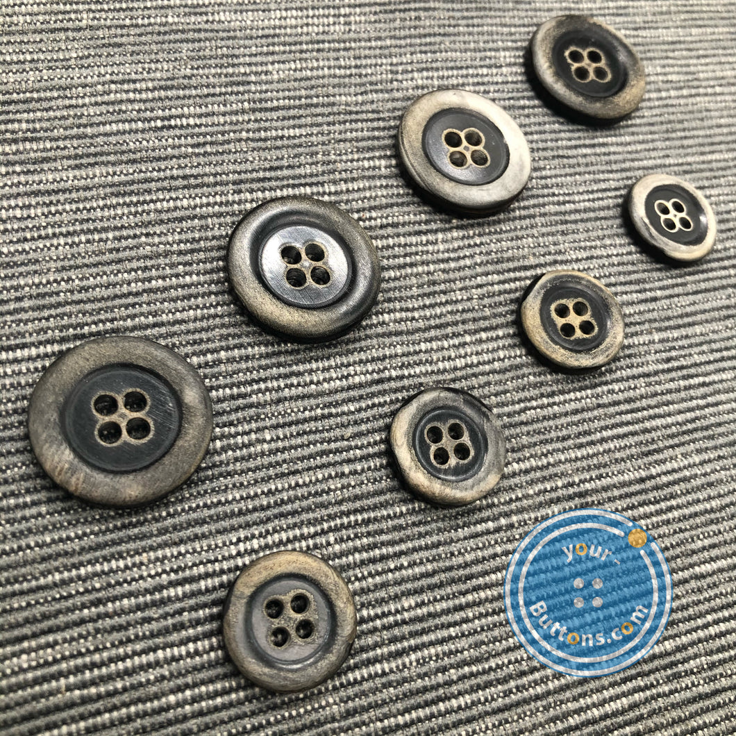 4hole horn suit button Vintage burnt rim