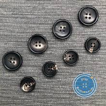 Load image into Gallery viewer, (3 pieces set) 4hole horn suit button Shiny Black with rim