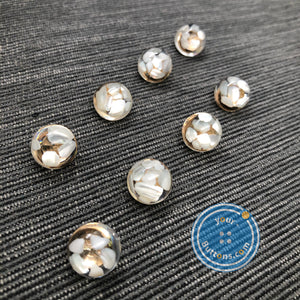 (3 pieces set) Shell shank button with metal shank back