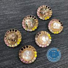 Load image into Gallery viewer, (2 pieces set) Mother of pearl with gems gold shank button