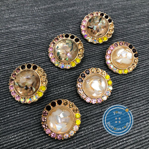 (2 pieces set) Mother of pearl with gems gold shank button