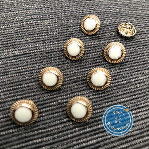 (3 pieces set) Metal button light gold color with little DOT on top