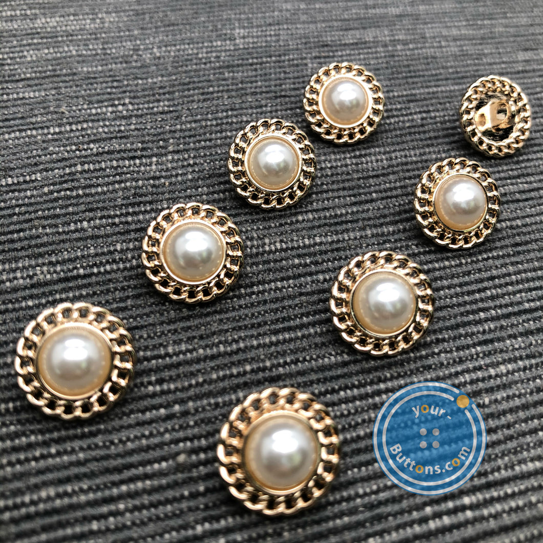 (3 pieces set) Metal shank button with Chain around and pearl top gold & silver