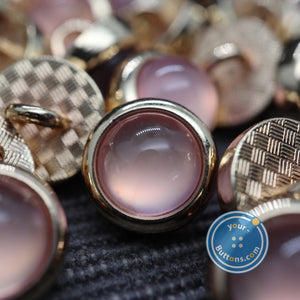 Pink pearl look metal shank button