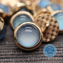 Load image into Gallery viewer, (3 pieces set)Blue pearl look metal shank button